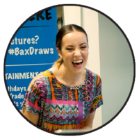 Photo of girl laughing after seeing her Bax Illustration Caricature