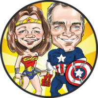 Wonder Woman and captain America caricature theme from Bax Illustration