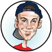 Caricature gift of teenager with baseball cap