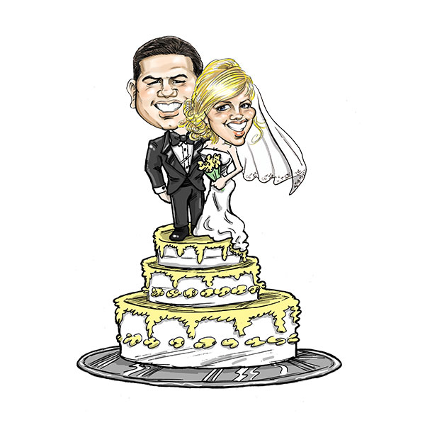 Caricature of wedding couple in St. Louis, Bax Illustration - The Cake Topper