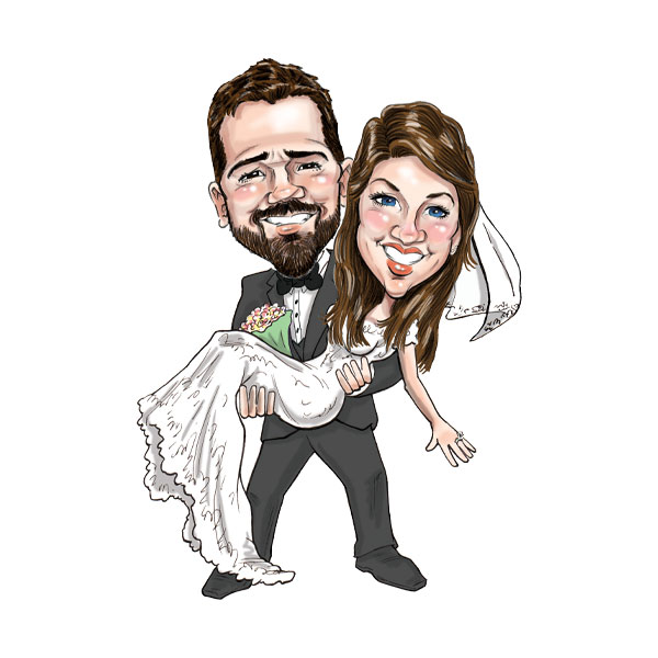 Caricature of wedding couple in St. Louis, Bax Illustration - The Classic Theme