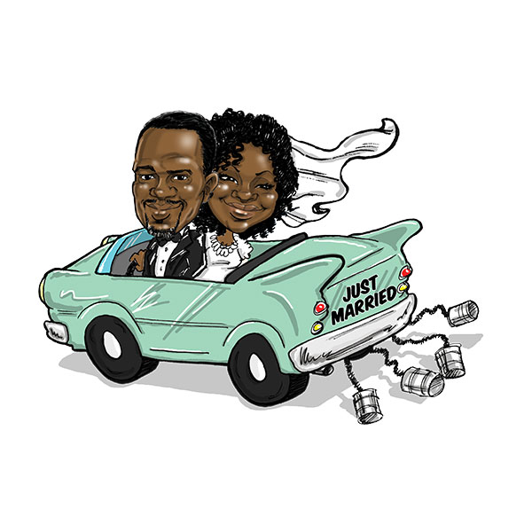 Caricature of wedding couple in St. Louis, Bax Illustration - The Cruisin' Theme