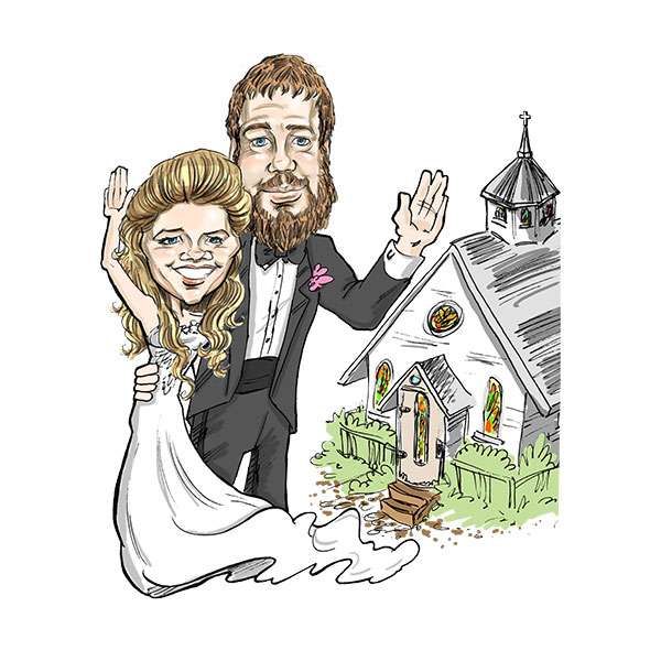 Caricature of wedding couple in St. Louis, Bax Illustration - The Little White Church Theme