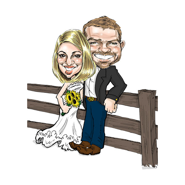 Caricature of wedding couple in St. Louis, Bax Illustration - Post It Theme