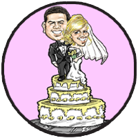 Caricature of wedding couple with cake topper theme