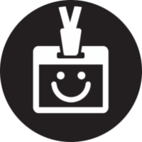 Icon for wearing digital caricatures in a lanyard