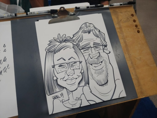 Caricature at Gateway Center Collinsville during the Illinois Funeral Directors Association Conference