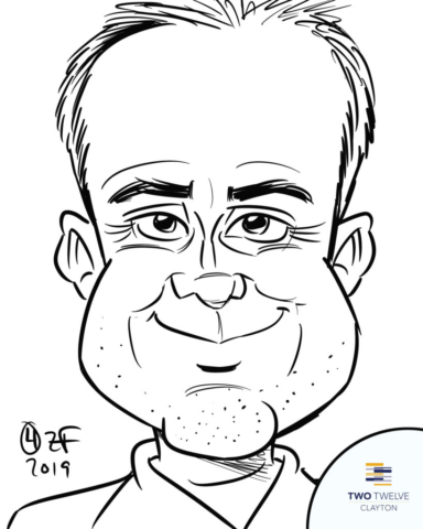 Digital Caricature of guy at Two Twelve Clayton Pool Party, by Bax Illustration