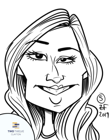 Digital Caricature of girl at Two Twelve Clayton Pool Party, by Bax Illustration