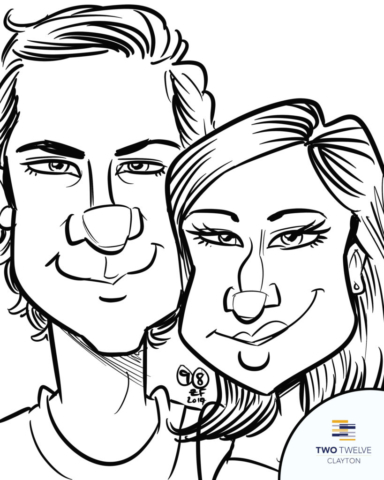 Digital Caricature of couple at Two Twelve Clayton Pool Party, by Bax Illustration