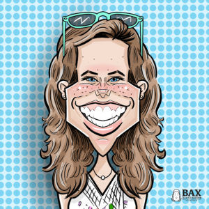 Caricature of Abby Nelson , week 3 winner of the Bax Illustration Caricature Giveaway
