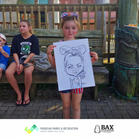 girl holding caricature by Bax Illustration in Paducah Kentucky at the 2019 Independence Day Celebration