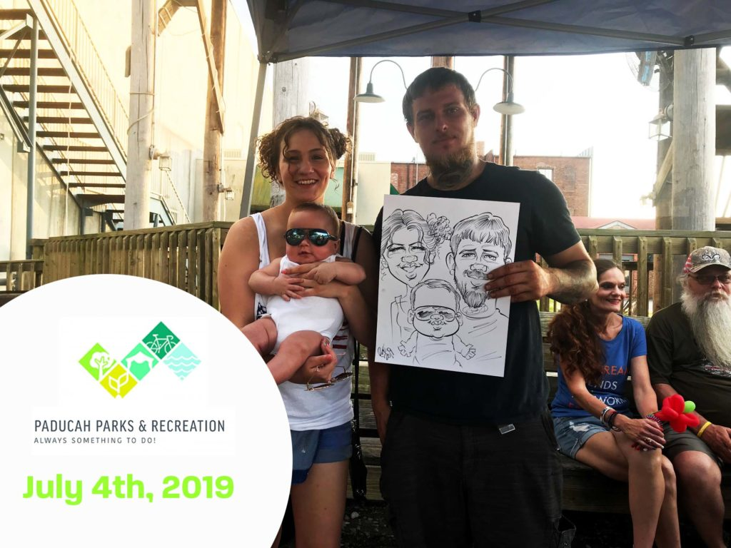 Family holding caricature by Bax Illustration in Paducah Kentucky