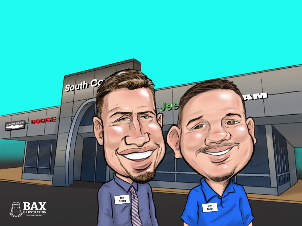 Caricature of Jeff & Mike from South County Dodge by Bax Illustration for Customer Appreciation event