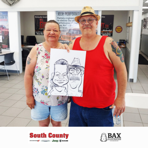 Couple holding caricature by Bax Illustration at South County Dodge Customer Appreciation Event in St. Louis