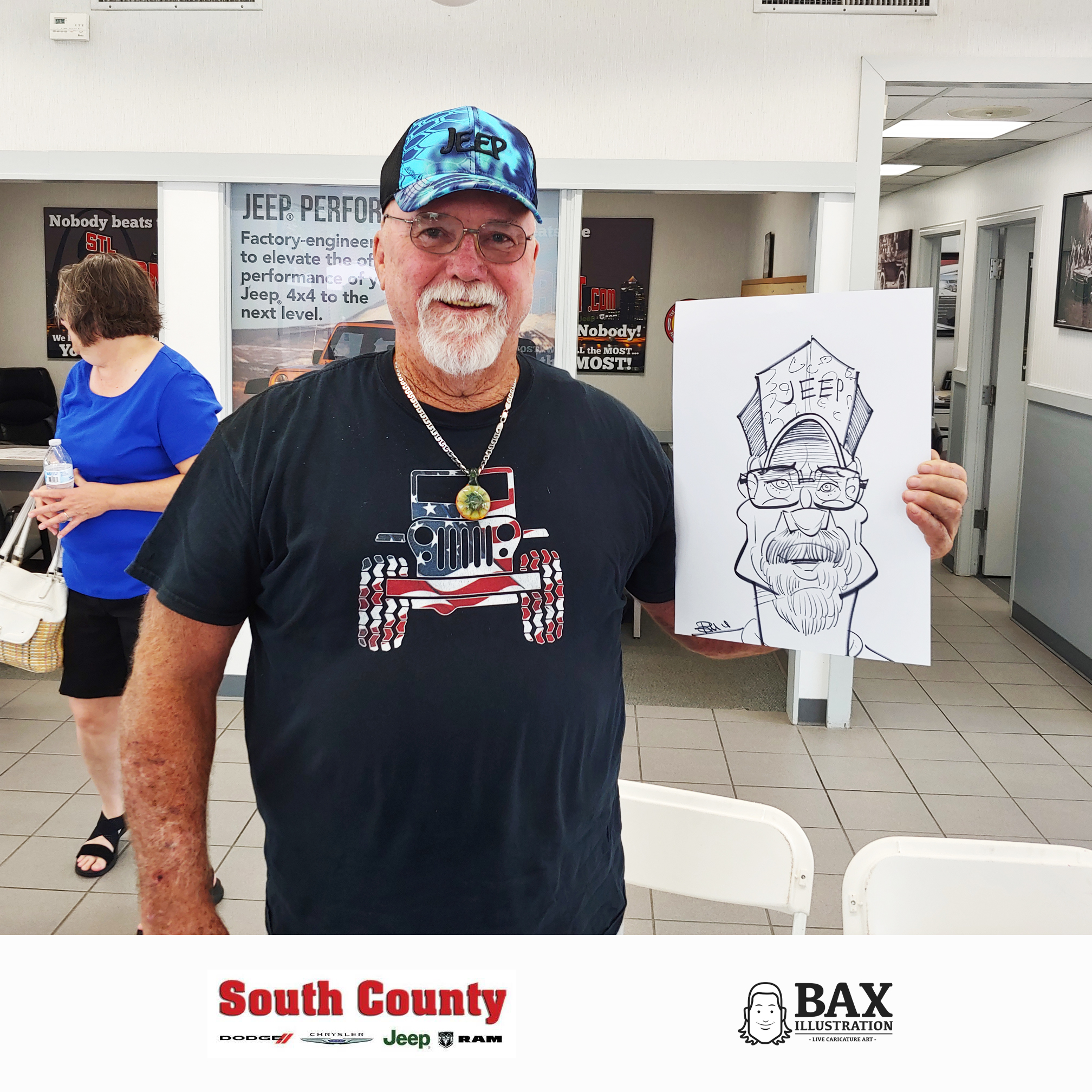 Guy with Jeep hat holding caricature by Bax Illustration at South County Dodge Customer Appreciation Event in St. Louis