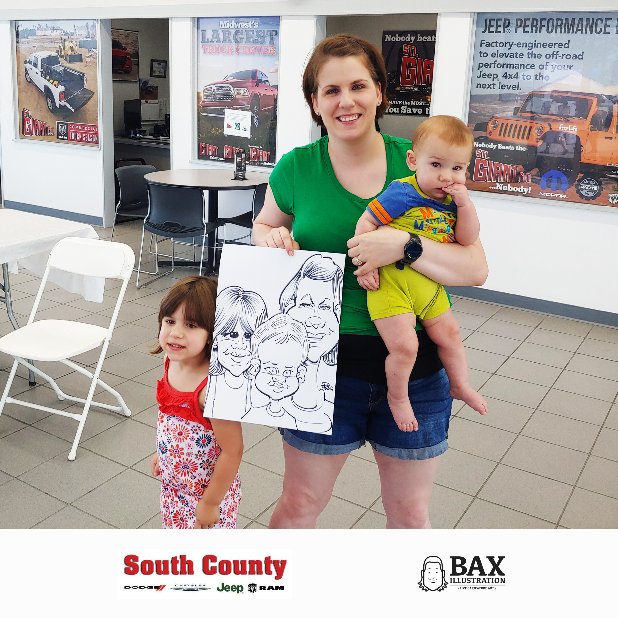 Woman with children holding caricature by Bax Illustration at South County Dodge Customer Appreciation Event in St. Louis