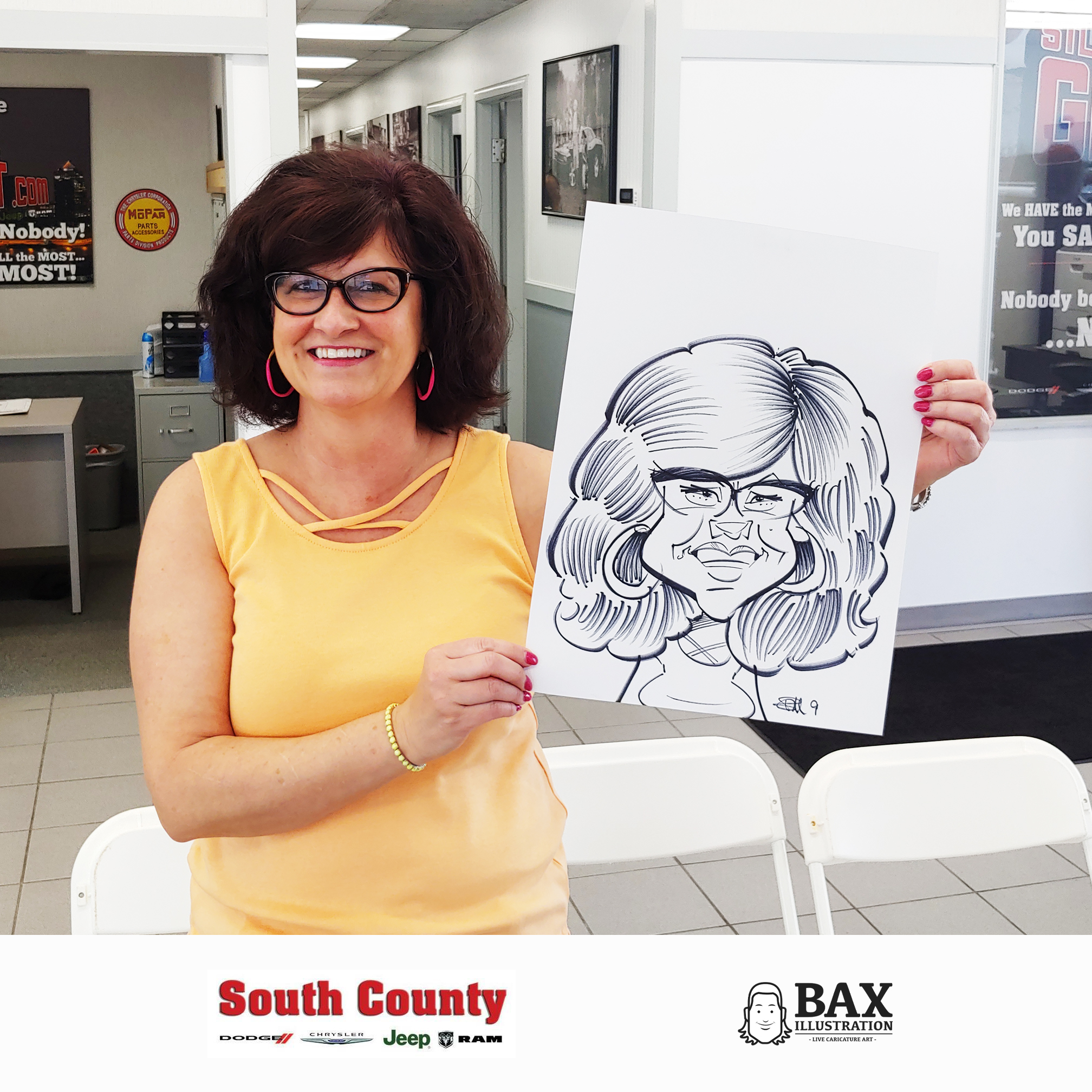 Woman holding caricature by Bax Illustration at South County Dodge Customer Appreciation Event in St. Louis