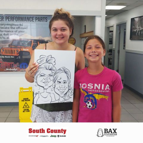 Girls holding caricature by Bax Illustration at South County Dodge Customer Appreciation Event in St. Louis