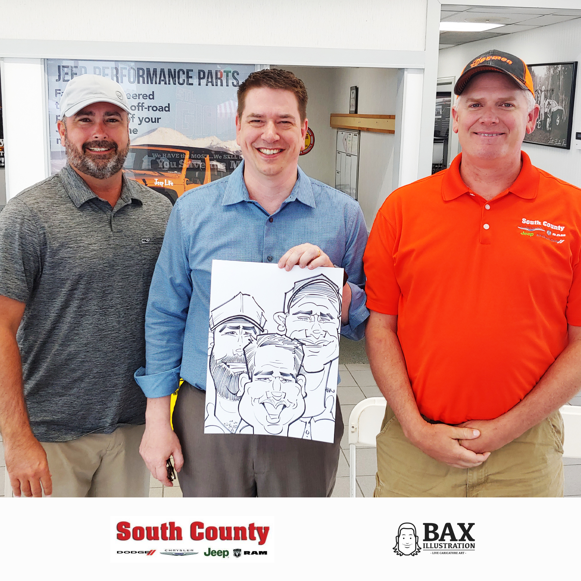 Guys holding caricature by Bax Illustration at South County Dodge Customer Appreciation Event in St. Louis