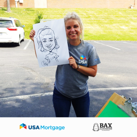 Erin Smith holding caricature by Bax Illustration at a USA Mortgage event in St. Louis, Missouri