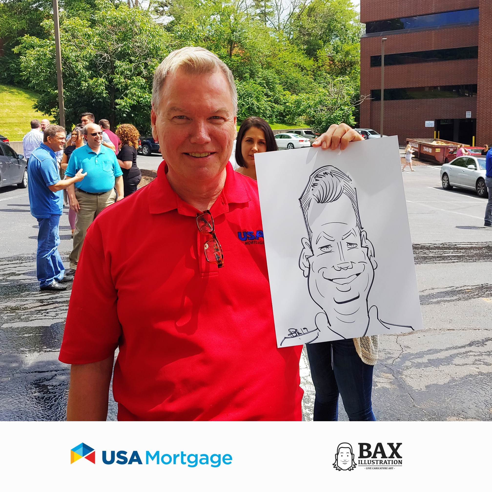 Man holding caricature by Bax Illustration at a USA Mortgage event in St. Louis, Missouri