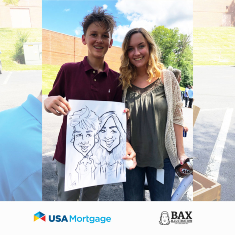 Brother and sister holding caricature by Bax Illustration at a USA Mortgage event in St. Louis, Missouri