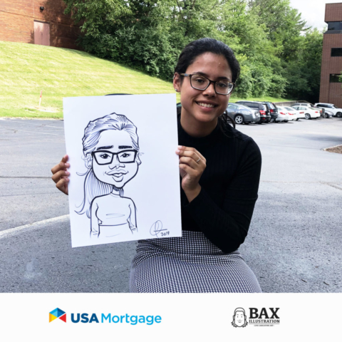 Woman holding caricature by Bax Illustration at a USA Mortgage event in St. Louis, Missouri