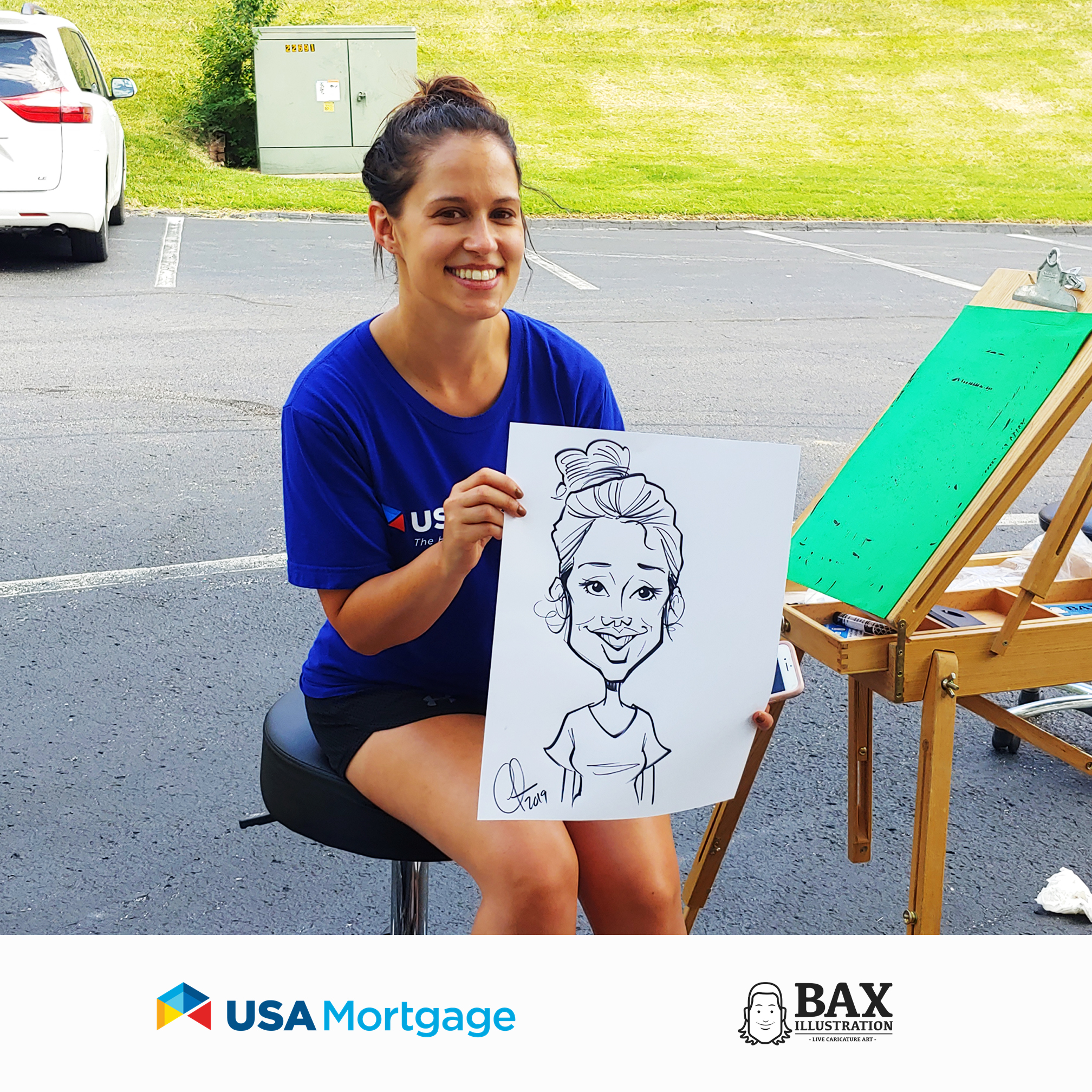 Chelsea Vonder Haar holding caricature by Bax Illustration at a USA Mortgage event in St. Louis, Missouri