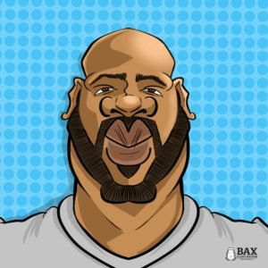 Photo of digital caricature by Bax Illustration, won by Terrell Vernor